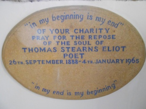 T S Eliot plaque East Coker church